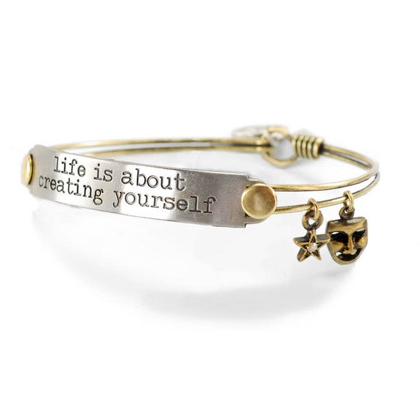 Sweet Romance 'Life is About Creating Yourself' Inspirational Message Bangle Bracelet
