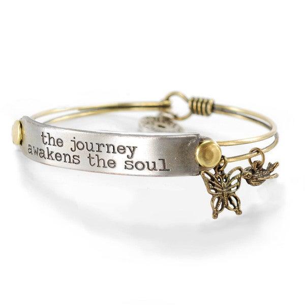 Sweet Romance 'The Journey Awakens the Soul' Inspirational Message Bangle Bracelet