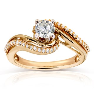 Annello 14k Two Tone Gold 1/2ct TDW Diamond Twisted Engagement Ring (H-I, I1-I2)