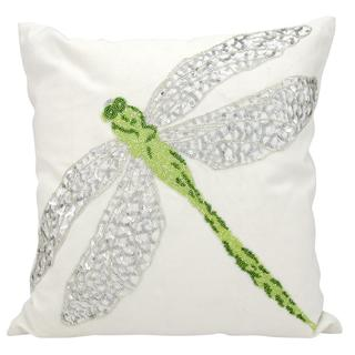 Mina Victory Indoor/Outdoor Beaded Dragonfly Green Throw Pillow (18-inch x 18-inch) by Nourison
