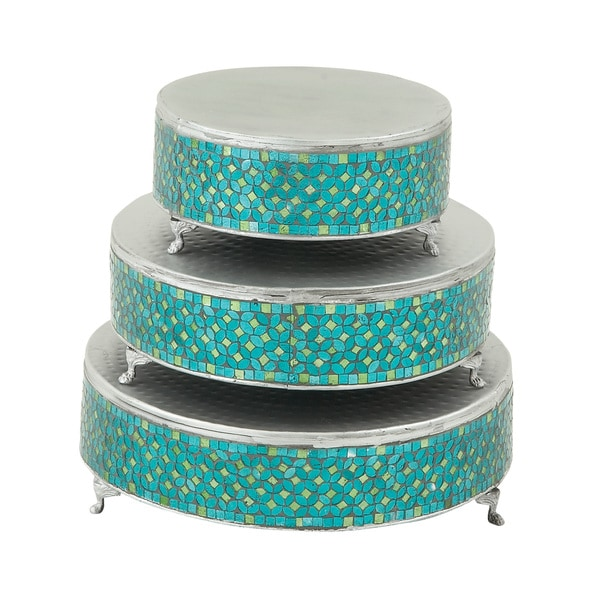 Remarkable Set of Three Metal Mosaic Cake Stand 15411967