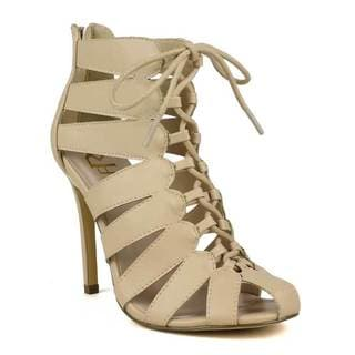 Fahrenheit Women's Una-02 Cut-out Lace-up Round toe heels