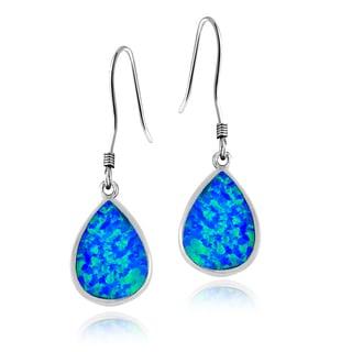 Glitzy Rocks Sterling Silver Synthetic Opal Teardrop Earrings