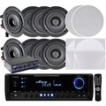 Pyle KTHSP390 300W Receiver/ Amplifier with 4 Pairs of 150W 5.25-inch In-Ceiling Speakers and Speaker Selector