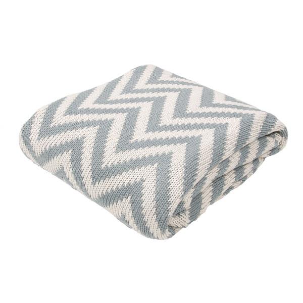 "Stripe Pattern Smoke Blue/Turtle Dove Cotton (50""x60"") Throw"