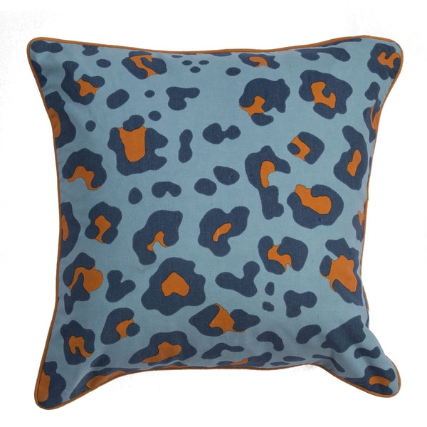 Animal Print Pattern Petit Four/Federal Blue Cotton Polyester 22-inch Throw Pillow