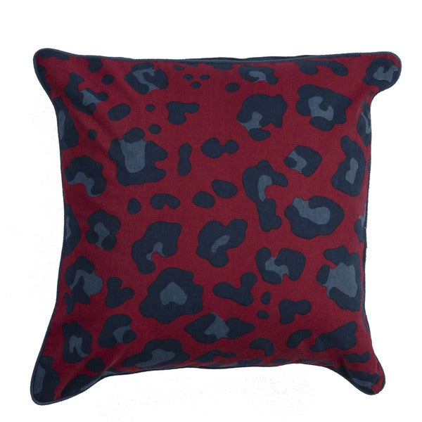 Animal Print Pattern Pompeian Red/Ensign Blue Cotton Polyester 22-inch Throw Pillow