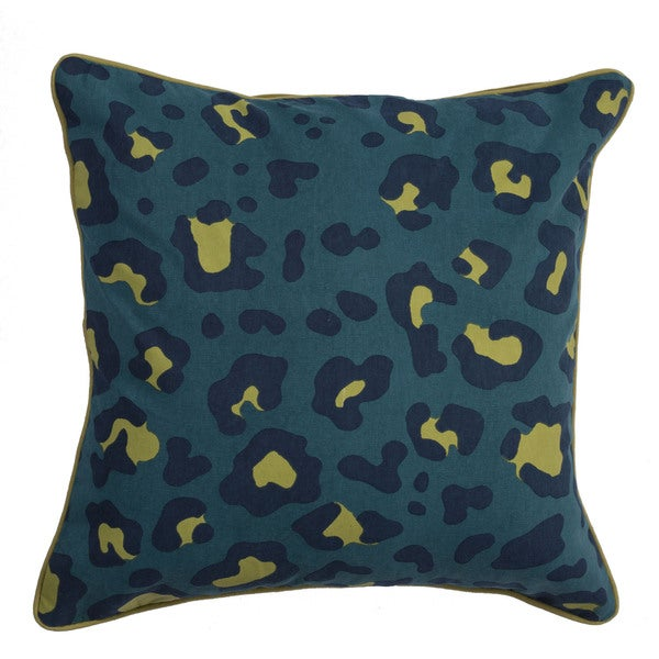 Animal Print Pattern Pacific/Mood Indigo Cotton Polyester 22-inch Throw Pillow