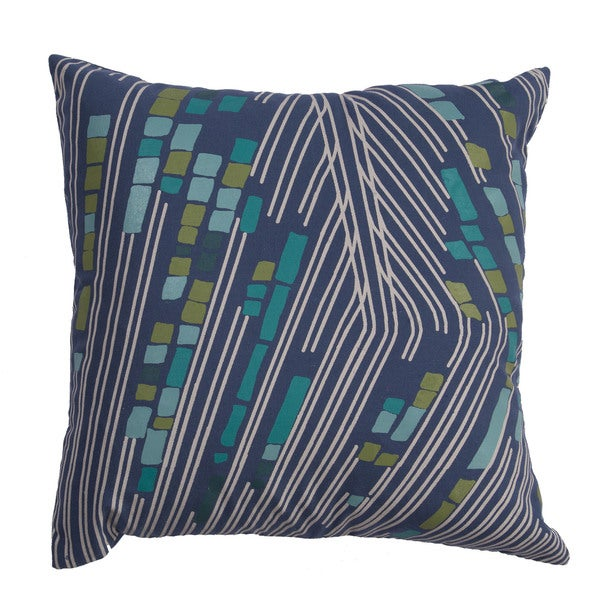 Abstract Pattern Bijou Blue/White Smoke Cotton Polyester 20-inch Throw Pillow
