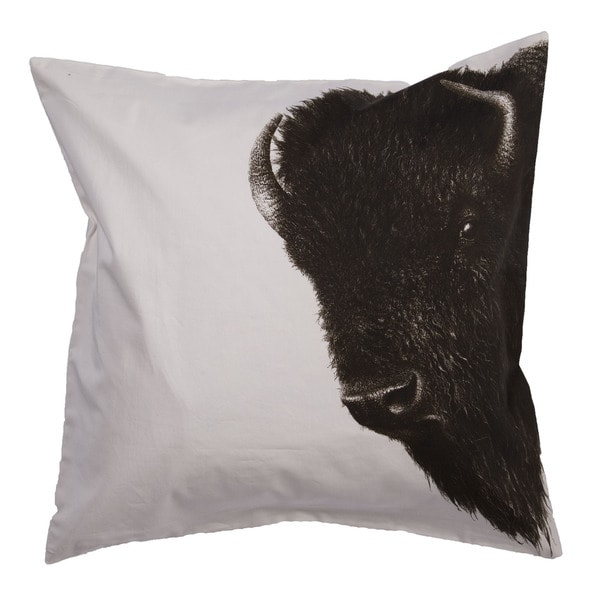 Animal Print Pattern Gardenia/Jet Black Cotton Polyester 20-inch Throw Pillow
