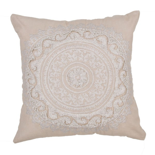 Floral Pattern Oatmeal/Crme brulee Cotton 22-inch Throw Pillow