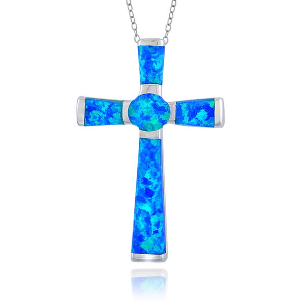 Glitzy Rock Sterling Silver Synthetic Opal Cross Necklace 15412006