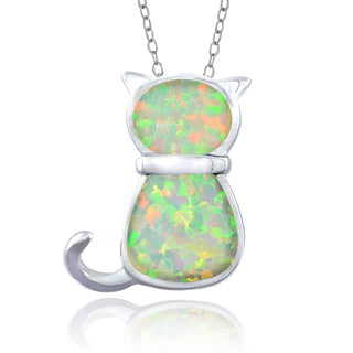 Glitzy Rocks Sterling Silver Synthetic Opal Cat Necklace
