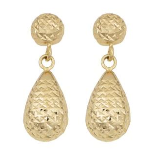 Fremada 14k Yellow Gold Diamond-cut Teardrop Dangle Earrings