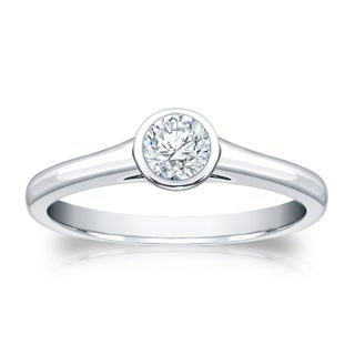 Auriya 14k Gold 1/3ct TDW Round Bezel Solitaire Ring ( H-I, SI1-SI2)