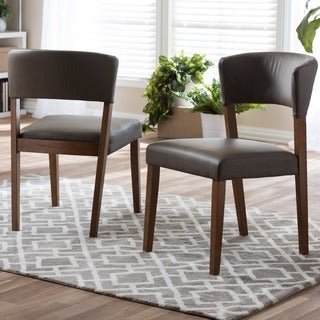 Baxton Studio Montreal Mid-century Dark Walnut Wood Grey Faux Leather Dining Chairs