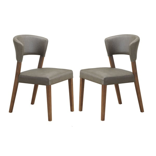montreal mid century dark walnut wood grey faux leather dining chairs