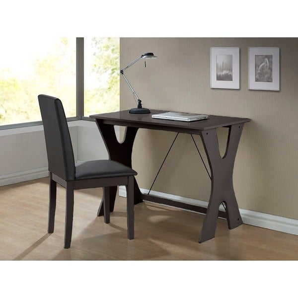 Cary Contemporary Dark Brown Writing Desk and Chair Set
