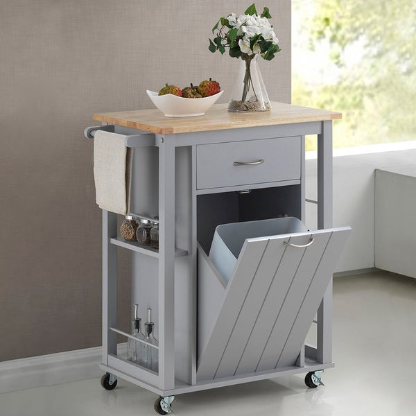 Baxton Studio Yonkers Contemporary Light Grey Kitchen Cart with Wood