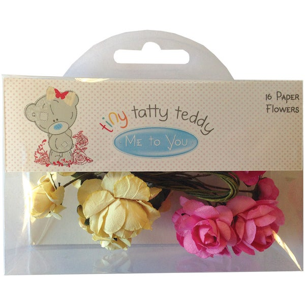 Tiny Tatty Teddy Paper Flowers W/Stems 16/PkgGirl Pink & Cream
