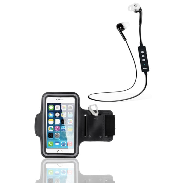 Bluetooth Headphones and Black Armband Sport Kit for Apple iPhone 6