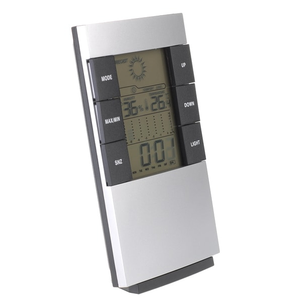 Patuoxun 4-in-1 Calendar Alarm Clock LCD Digital Hygrometer Humidity Thermometer Temperature Meter Gauge