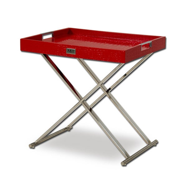Modrest A&X Cecilia Red Crocodile Tray Table