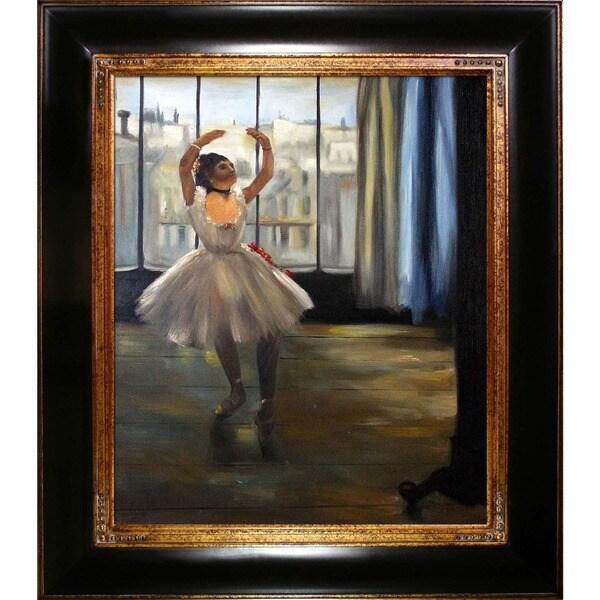 Edgar Degas' Dancer Posing' Hand Painted Framed Canvas Art 15412487