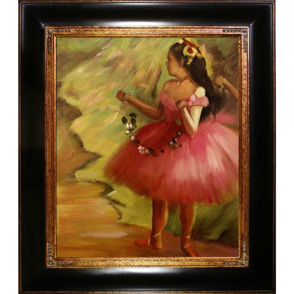 Edgar Degas 'Dancer in Pink' Dress Hand Painted Framed Canvas Art 15412488