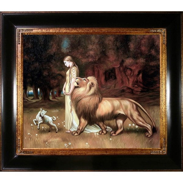 Briton Riviere 'Una and the Lion' Hand Painted Framed Canvas Art