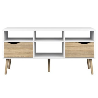 Diana White 4-shelf 2-drawer Oak TV Stand