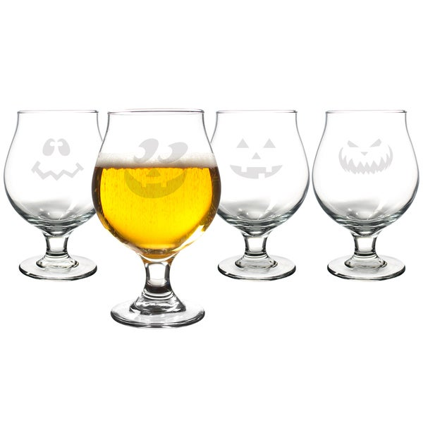 Jack-o-Lantern Belgian Beer Glasses (Set of 4)