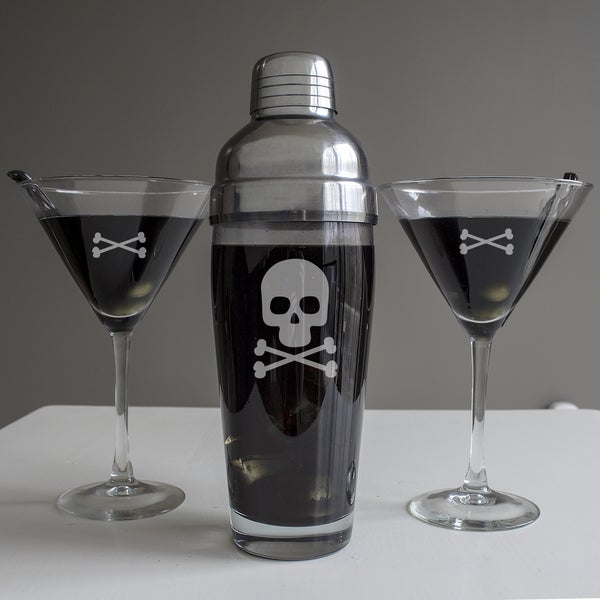 Crossbones and Skull Cocktail Shaker 3-piece Set