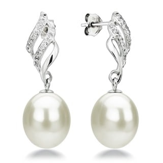 DaVonna Sterling Silver White Freshwater Pearl and Cubic Zirconia Dangle Earrings (9-10 mm)