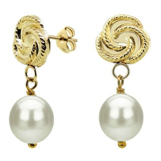 DaVonna 14k Yellow Gold White Freshwater Pearl Dangle Earrings (7-8 mm)
