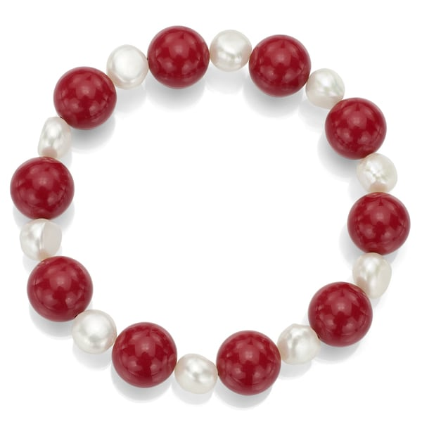 DaVonna White Freshwater Pearl and Round Red Coral Stretch Bracelet (8-9 mm)