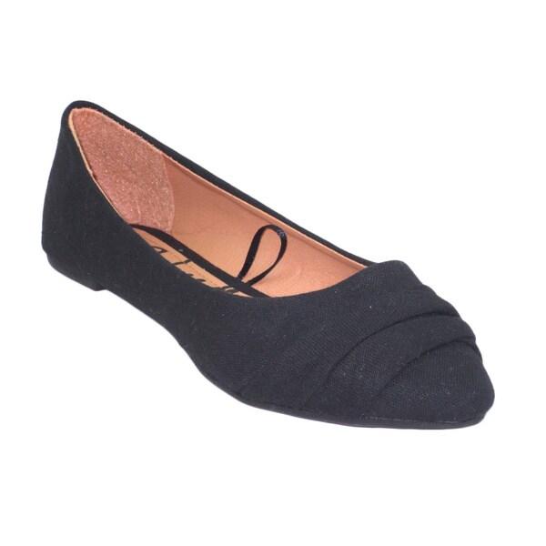 Blue Women's Black Canvas 'Beckie' Ballerina Flats