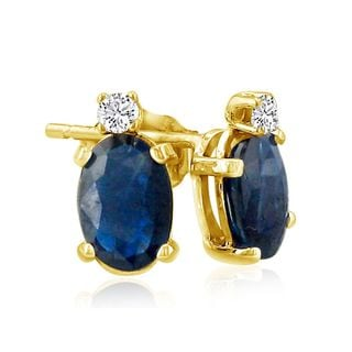 14k Yellow Gold Oval Sapphire Diamond Accent Earrings