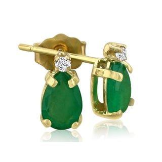 14k Yellow Gold Pear-cut Emerald Diamond Accent Earrings