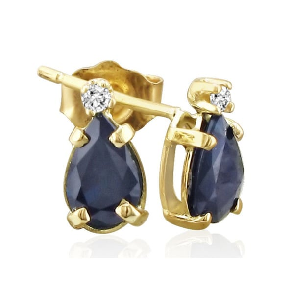 14k Yellow Gold Pear-cut Sapphire Diamond Accent Earrings