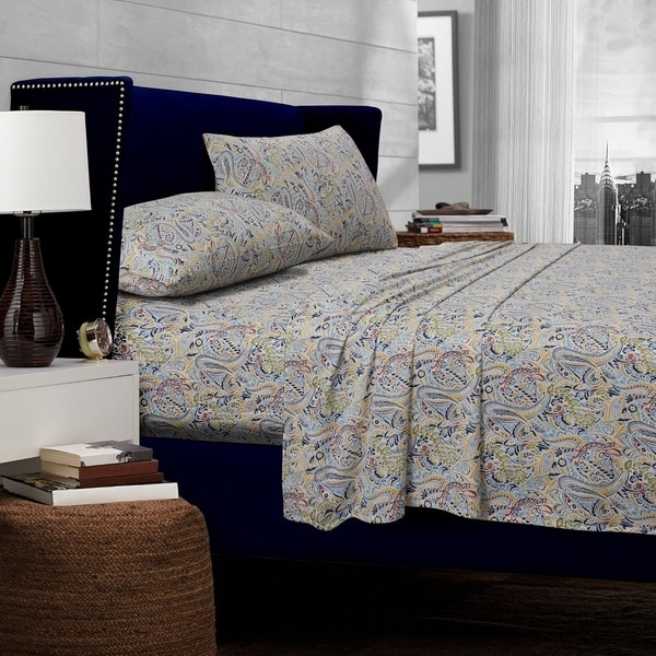 Fiji Multi-color Paisley Printed Extra Deep Pocket Egyptian Cotton Sheets with Oversize Flat