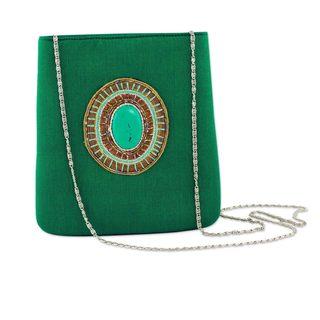 Beaded 'Emerald Magic' Shoulder Bag (India)