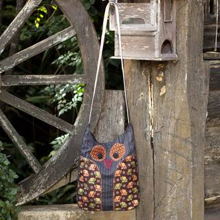 Cotton 'Whimsical White and Black Owl' Sling Bag (Thailand)
