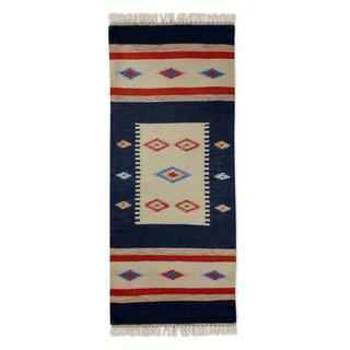 Handwoven Cotton 'Celebration in Blue' Rug (2 feet x 5 feet) (India)
