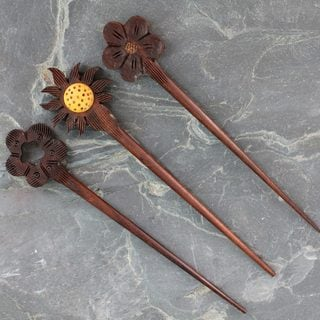 Set of 3 Sheesham and Kadam Wood 'Sunflower' Hairpins (India)