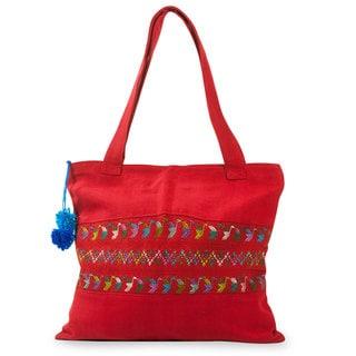 Handcrafted Cotton 'Red Birds of Toliman' Shoulder Bag (Guatemala)
