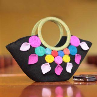 Handcrafted Wool 'Andean Color' Handle Handbag (Peru)