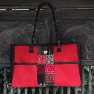 Cotton 'Tribal Crimson' Shoulder Bag (Thailand)