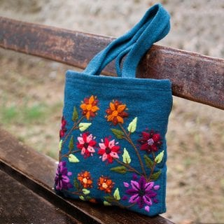 Wool 'Secret Garden' Tote Handbag (Peru)