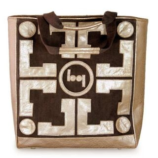 Leather Cotton 'Abstraction' Handbag (India)